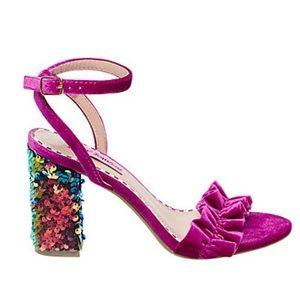 Betsey Johnson | Iliana Magenta velvet ruffle heel